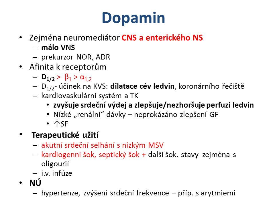 """Dopamin Zejména neuromediátor CNS a enterického NS – málo VNS – prekurzor NOR, ADR Afinita k receptorům – D 1/2 ˃ β 1 ˃ α 1,2 – D 1/2 - účinek na KVS: dilatace cév ledvin, koronárního řečiště – kardiovaskulární systém a TK zvyšuje srdeční výdej a zlepšuje/nezhoršuje perfuzi ledvin Nízké """"renální dávky – neprokázáno zlepšení GF ↑SF Terapeutické užití – akutní srdeční selhání s nízkým MSV – kardiogenní šok, septický šok + další šok."""