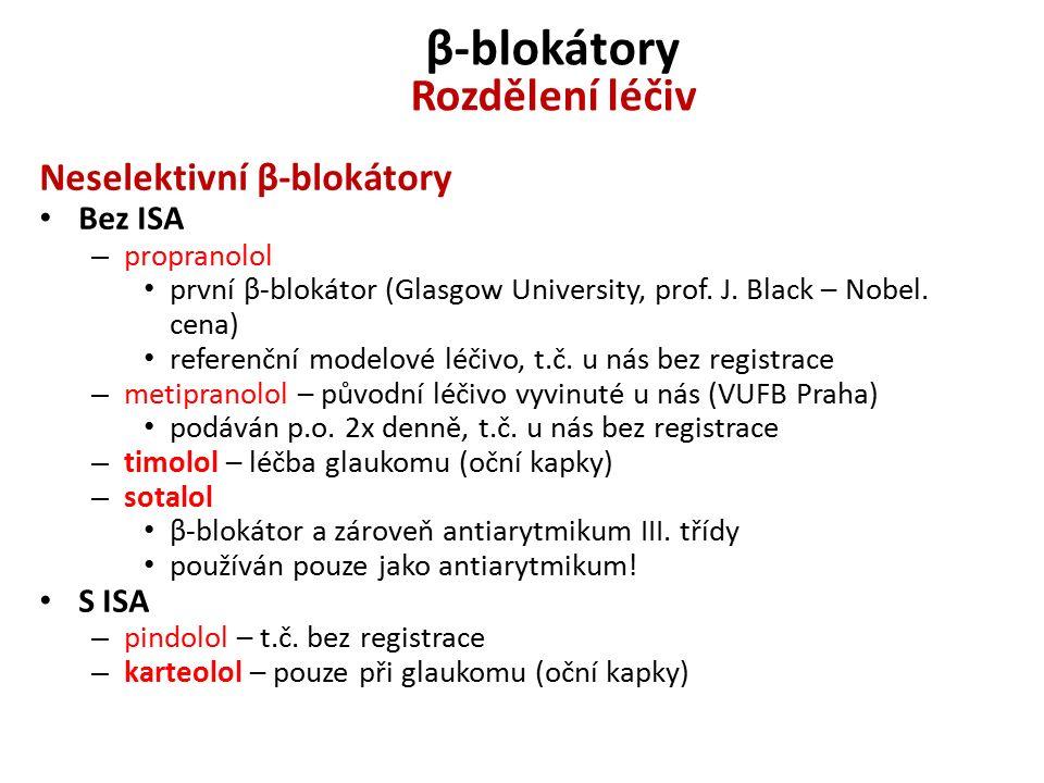 β-blokátory Rozdělení léčiv Neselektivní β-blokátory Bez ISA – propranolol první β-blokátor (Glasgow University, prof.