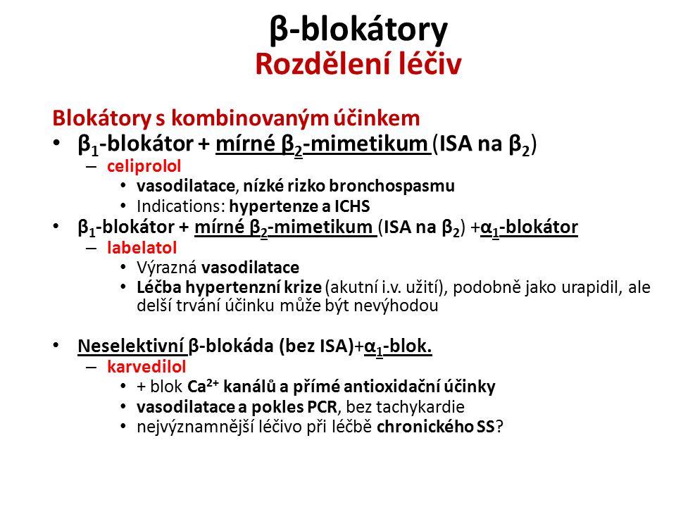 β-blokátory Rozdělení léčiv Blokátory s kombinovaným účinkem β 1 -blokátor + mírné β 2 -mimetikum (ISA na β 2 ) – celiprolol vasodilatace, nízké rizko bronchospasmu Indications: hypertenze a ICHS β 1 -blokátor + mírné β 2 -mimetikum (ISA na β 2 ) +α 1 -blokátor – labelatol Výrazná vasodilatace Léčba hypertenzní krize (akutní i.v.