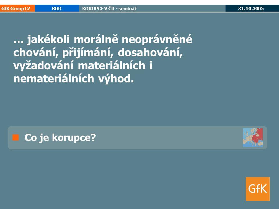 GfK Group CZBDDKORUPCE V ČR - seminář 31.10.2005 korupce cee 25 Co je korupce.