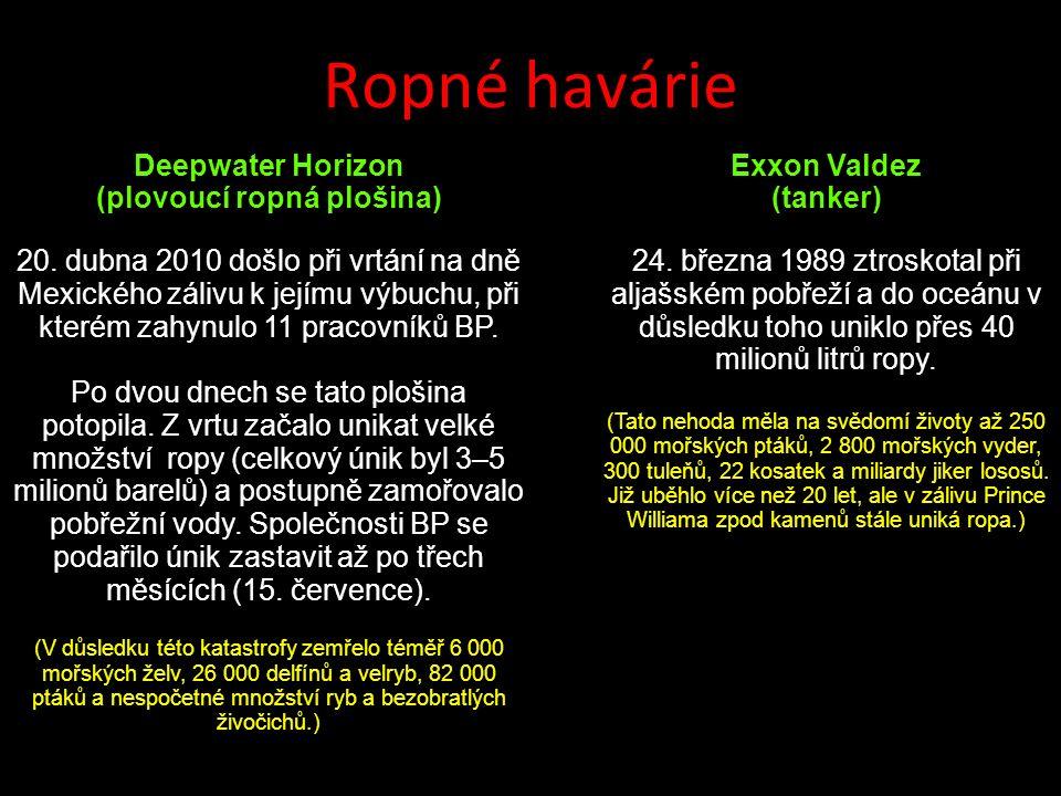 Ropné havárie Deepwater Horizon (plovoucí ropná plošina) 20.