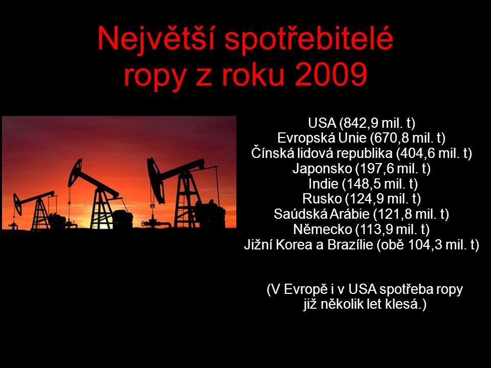 Největší spotřebitelé ropy z roku 2009 USA (842,9 mil.