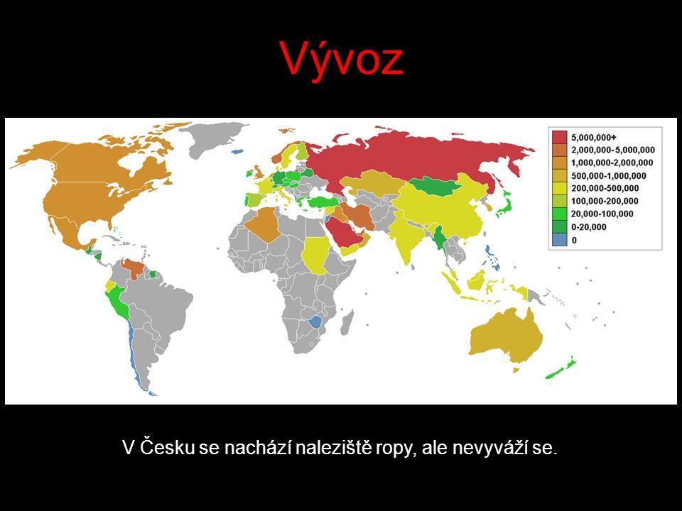 Vývoz V Česku se nachází naleziště ropy, ale nevyváží se.