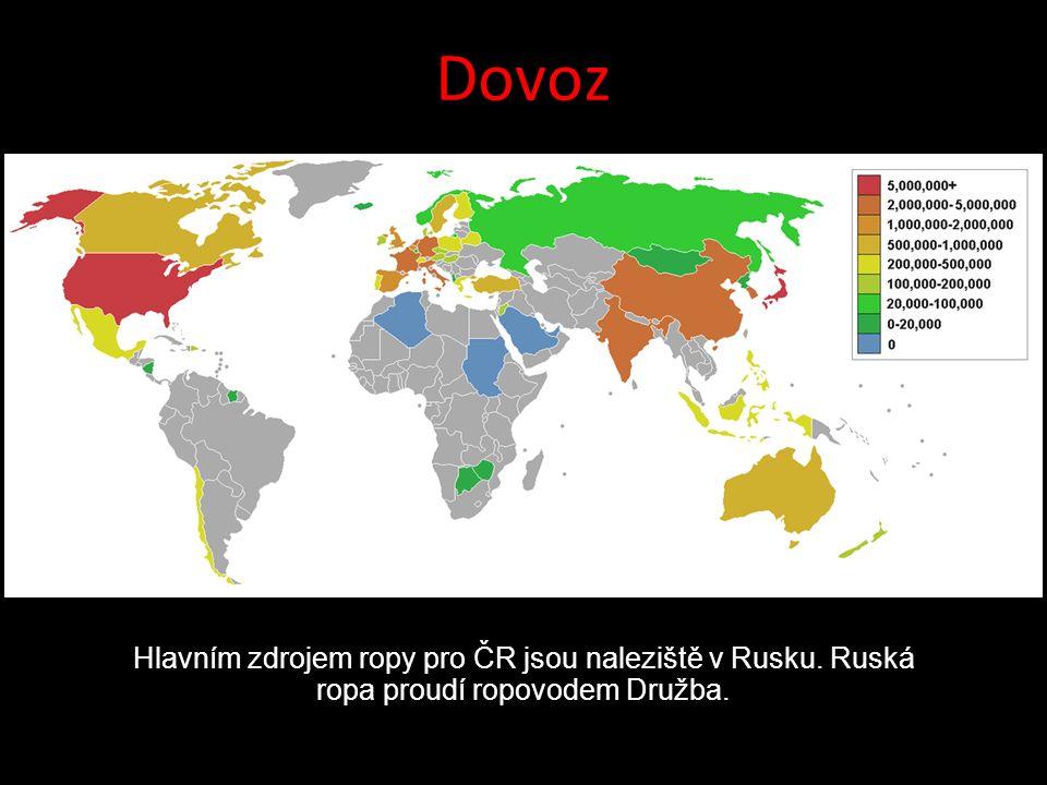 Dovoz Hlavním zdrojem ropy pro ČR jsou naleziště v Rusku. Ruská ropa proudí ropovodem Družba.