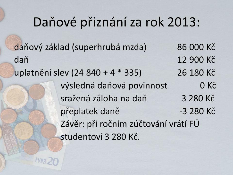 Daňové přiznání za rok 2013: daňový základ (superhrubá mzda)86 000 Kč daň12 900 Kč uplatnění slev (24 840 + 4 * 335)26 180 Kč výsledná daňová povinnost 0 Kč sražená záloha na daň 3 280 Kč přeplatek daně -3 280 Kč Závěr: při ročním zúčtování vrátí FÚ studentovi 3 280 Kč.