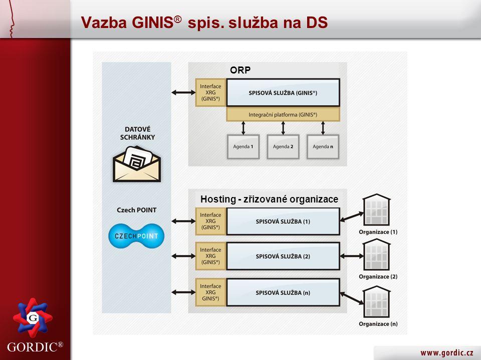 Vazba GINIS ® spis. služba na DS ORP Hosting - zřizované organizace