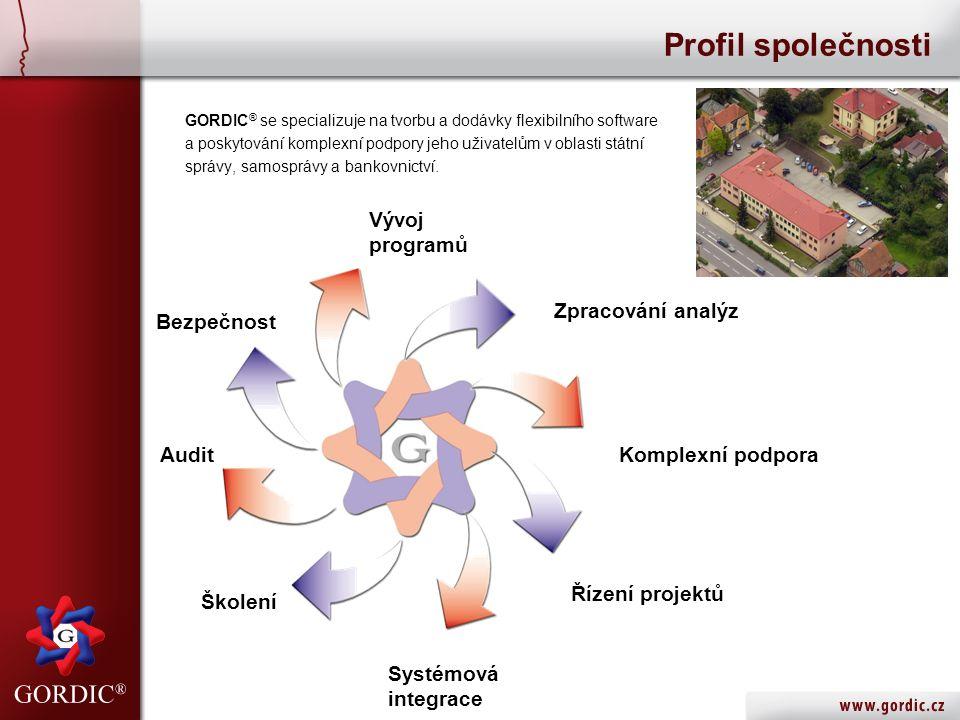 GORDIC ® se specializuje na tvorbu a dodávky flexibilního software a poskytování komplexní podpory jeho uživatelům v oblasti státní správy, samosprávy a bankovnictví.