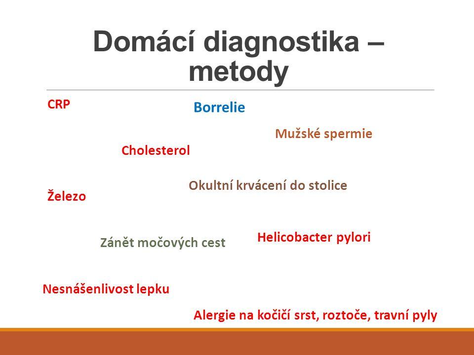 Domácí diagnostika – metody CRP Cholesterol Železo Zánět močových cest Nesnášenlivost lepku Borrelie Mužské spermie Okultní krvácení do stolice Helico