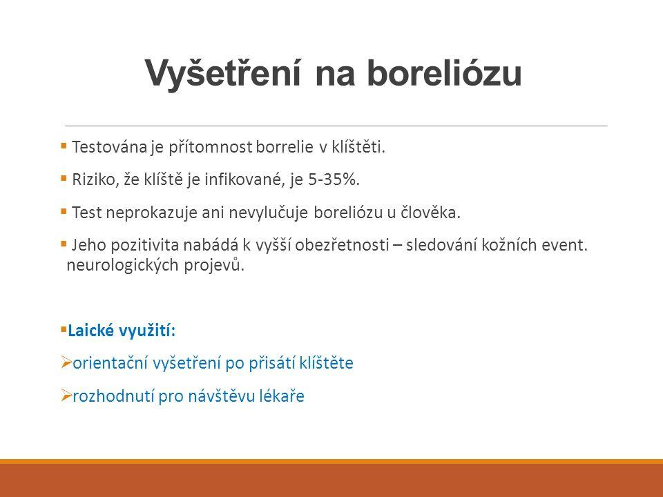 Vyšetření na boreliózu  Testována je přítomnost borrelie v klíštěti.  Riziko, že klíště je infikované, je 5-35%.  Test neprokazuje ani nevylučuje b