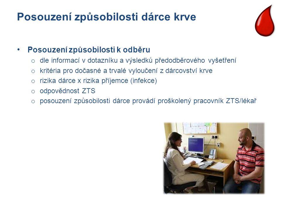 Posouzení způsobilosti dárce krve Posouzení způsobilosti k odběru o dle informací v dotazníku a výsledků předodběrového vyšetření o kritéria pro dočas
