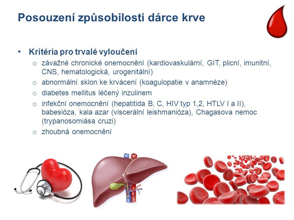 Posouzení způsobilosti dárce krve Kritéria pro trvalé vyloučení o závažné chronické onemocnění (kardiovaskulární, GIT, plicní, imunitní, CNS, hematolo
