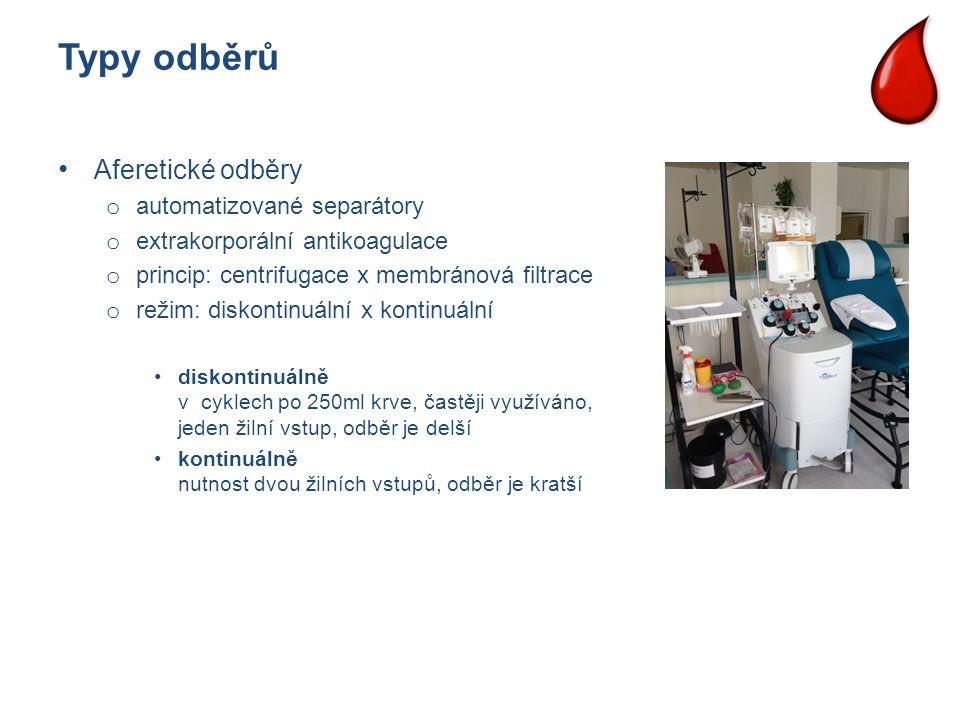 Typy odběrů Aferetické odběry o automatizované separátory o extrakorporální antikoagulace o princip: centrifugace x membránová filtrace o režim: disko