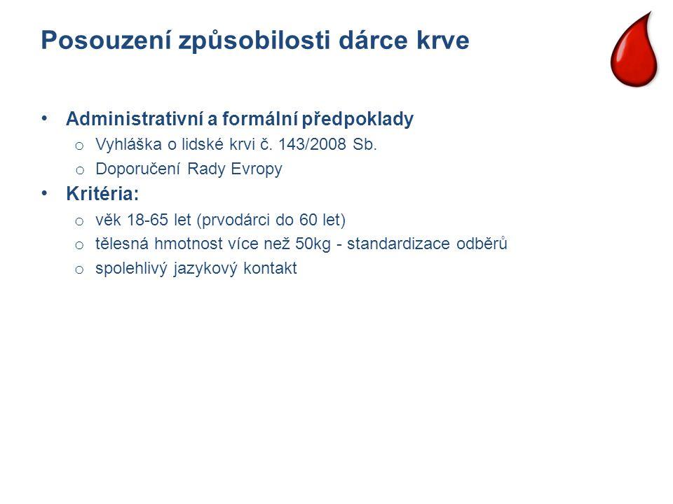 Posouzení způsobilosti dárce krve Administrativní a formální předpoklady o Vyhláška o lidské krvi č. 143/2008 Sb. o Doporučení Rady Evropy Kritéria: o