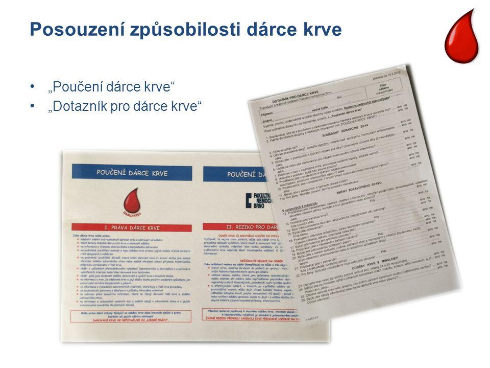 """Posouzení způsobilosti dárce krve """"Poučení dárce krve"""" """"Dotazník pro dárce krve"""""""