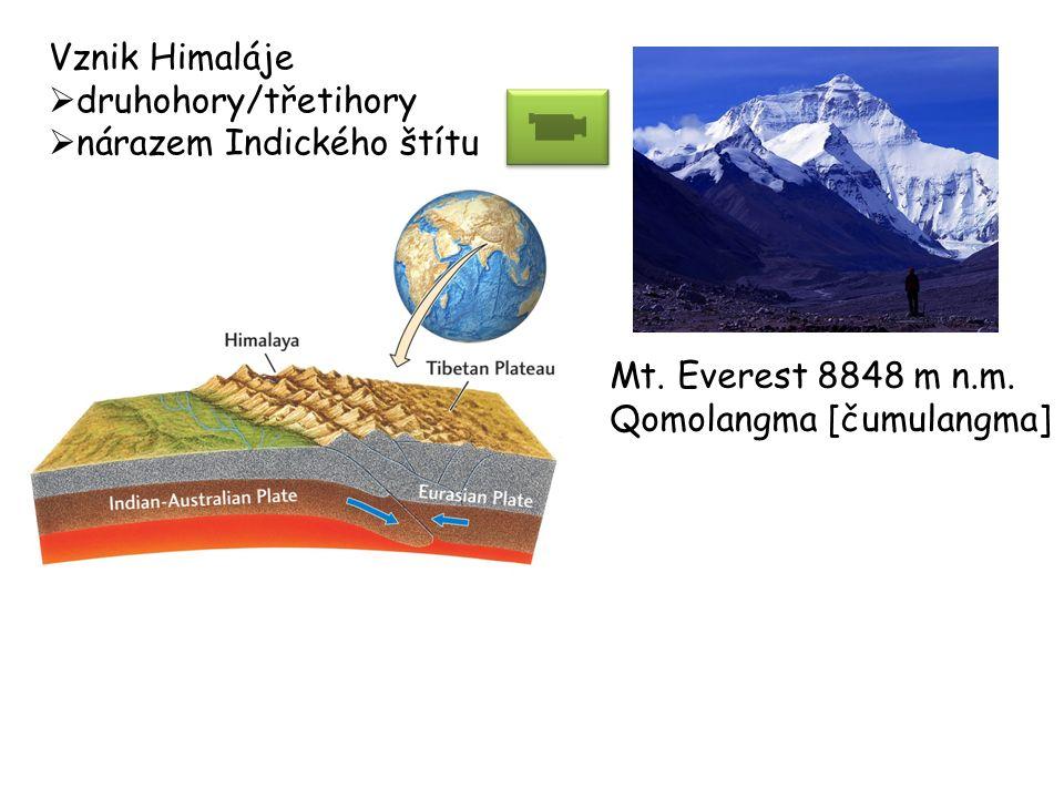 Vznik Himaláje  druhohory/třetihory  nárazem Indického štítu Mt. Everest 8848 m n.m. Qomolangma [čumulangma]