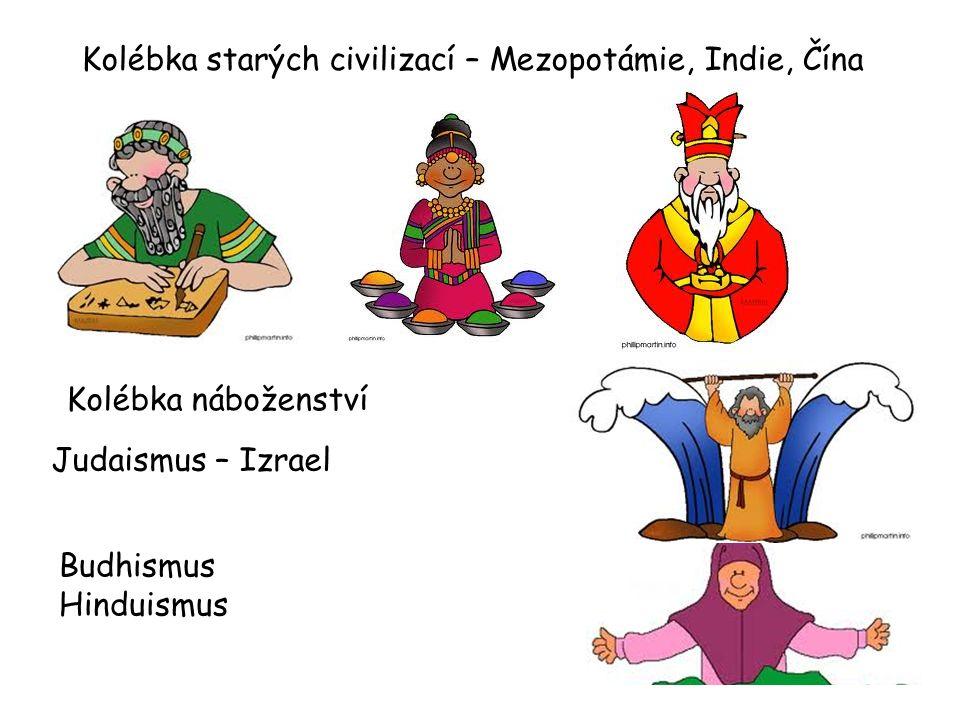 Kolébka starých civilizací – Mezopotámie, Indie, Čína Kolébka náboženství Křesťanství – Izrael (Jeruzalém, Betlém, Nazareth) Islám – Saudská Arábie (Mekka, Medina) Judaismus – Izrael Budhismus Hinduismus