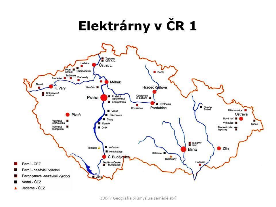 Elektrárny v ČR 1 Z0047 Geografie průmyslu a zemědělství