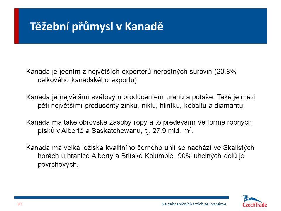 Těžební přůmysl v Kanadě Na zahraničních trzích se vyznáme10 Kanada je jedním z největších exportérů nerostných surovin (20.8% celkového kanadského ex