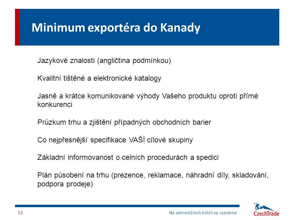 Minimum exportéra do Kanady Na zahraničních trzích se vyznáme13 Jazykové znalosti (angličtina podmínkou) Kvalitní tištěné a elektronické katalogy Jasn