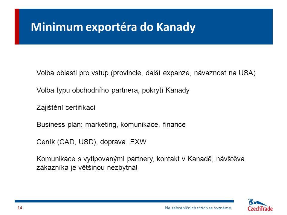 Minimum exportéra do Kanady Na zahraničních trzích se vyznáme14 Volba oblasti pro vstup (provincie, další expanze, návaznost na USA) Volba typu obchod