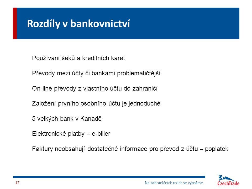 Rozdíly v bankovnictví Na zahraničních trzích se vyznáme17 Používání šeků a kreditních karet Převody mezi účty či bankami problematičtější On-line pře