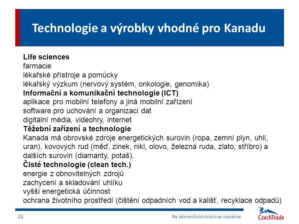 Technologie a výrobky vhodné pro Kanadu Na zahraničních trzích se vyznáme22 Life sciences farmacie lékařské přístroje a pomůcky lékařský výzkum (nervo