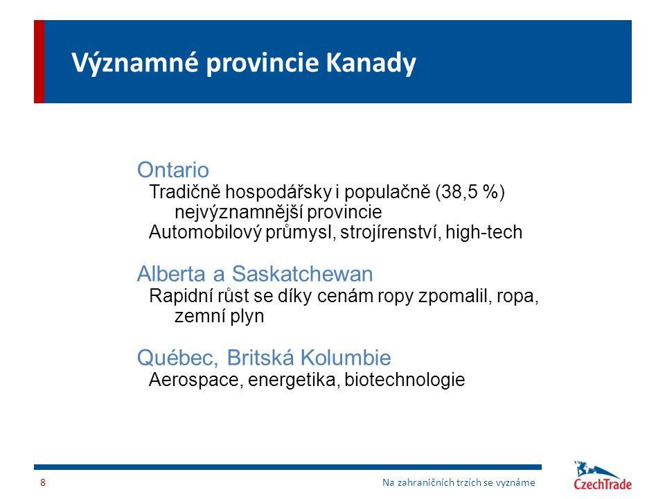 Významné provincie Kanady Na zahraničních trzích se vyznáme8 Ontario Tradičně hospodářsky i populačně (38,5 %) nejvýznamnější provincie Automobilový p