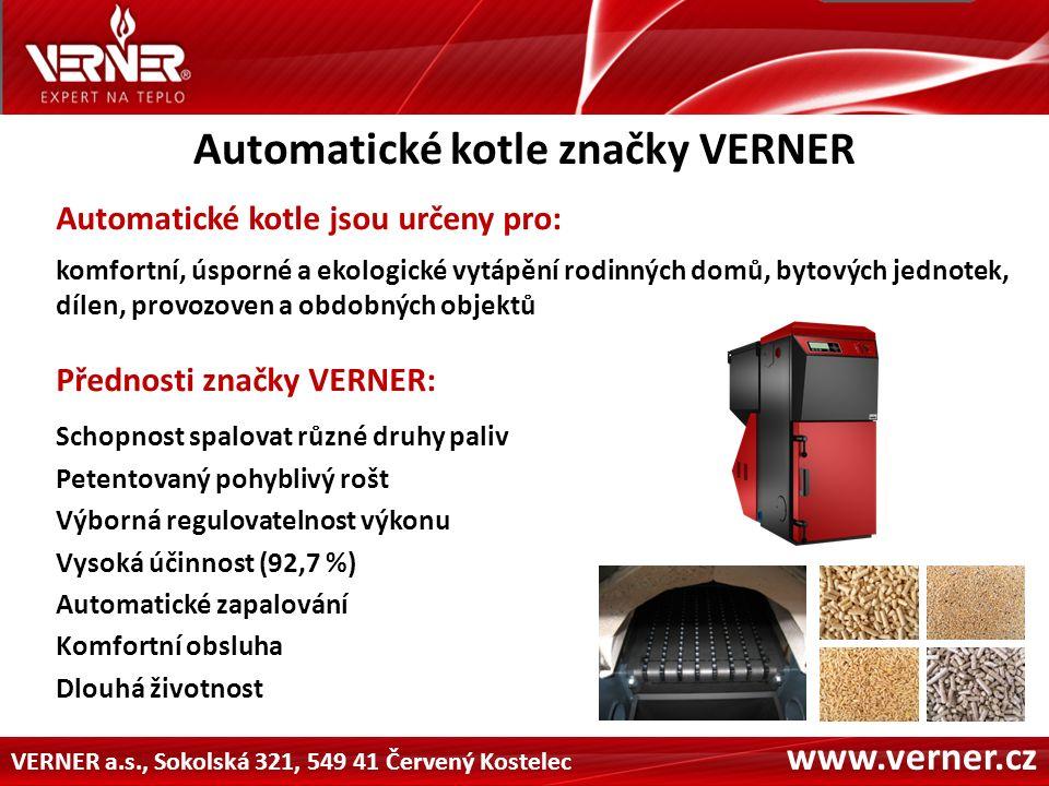 VERNER a.s., Sokolská 321, 549 41 Červený Kostelec www.verner.cz Příklady realizací kotlů značky VERNER Penzión Bejčkův Mlýn – 125 kW Palivo: dřevní pelety, alternativní pelety, obilí