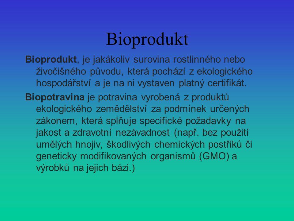 Bioprodukt Bioprodukt, je jakákoliv surovina rostlinného nebo živočišného původu, která pochází z ekologického hospodářství a je na ni vystaven platný certifikát.