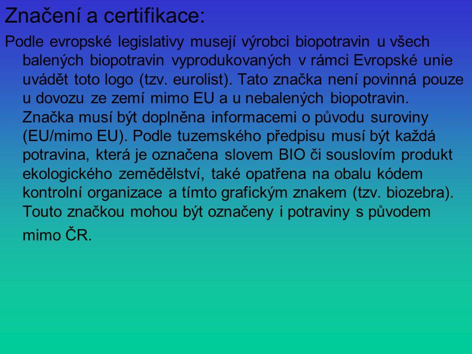 Značení a certifikace: Podle evropské legislativy musejí výrobci biopotravin u všech balených biopotravin vyprodukovaných v rámci Evropské unie uvádět