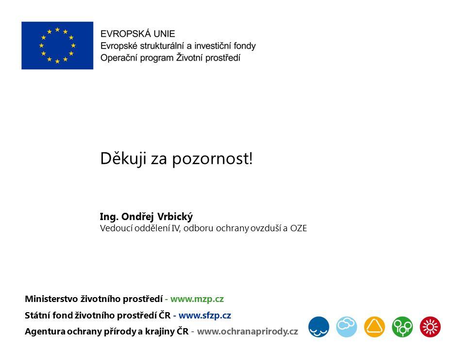 Děkuji za pozornost! Ing. Ondřej Vrbický Vedoucí oddělení IV, odboru ochrany ovzduší a OZE Ministerstvo životního prostředí - www.mzp.cz Státní fond ž