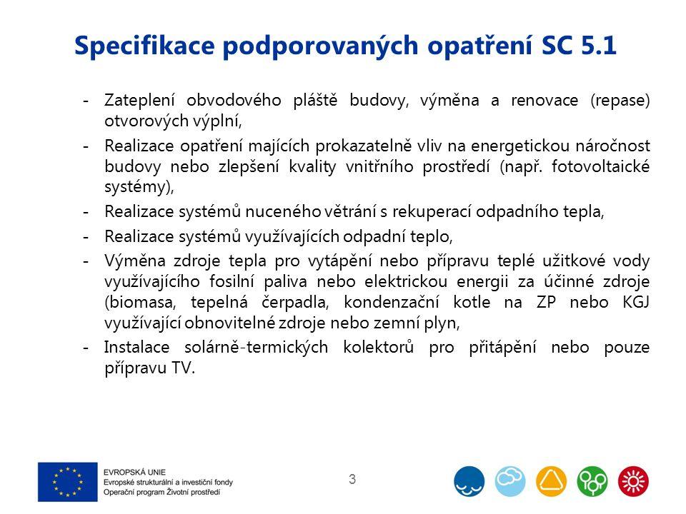 Specifikace podporovaných opatření SC 5.1  Zateplení obvodového pláště budovy, výměna a renovace (repase) otvorových výplní,  Realizace opatření maj