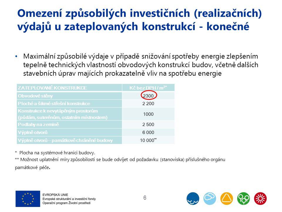 Omezení způsobilých investičních (realizačních) výdajů u zateplovaných konstrukcí - konečné Maximální způsobilé výdaje v případě snižování spotřeby en