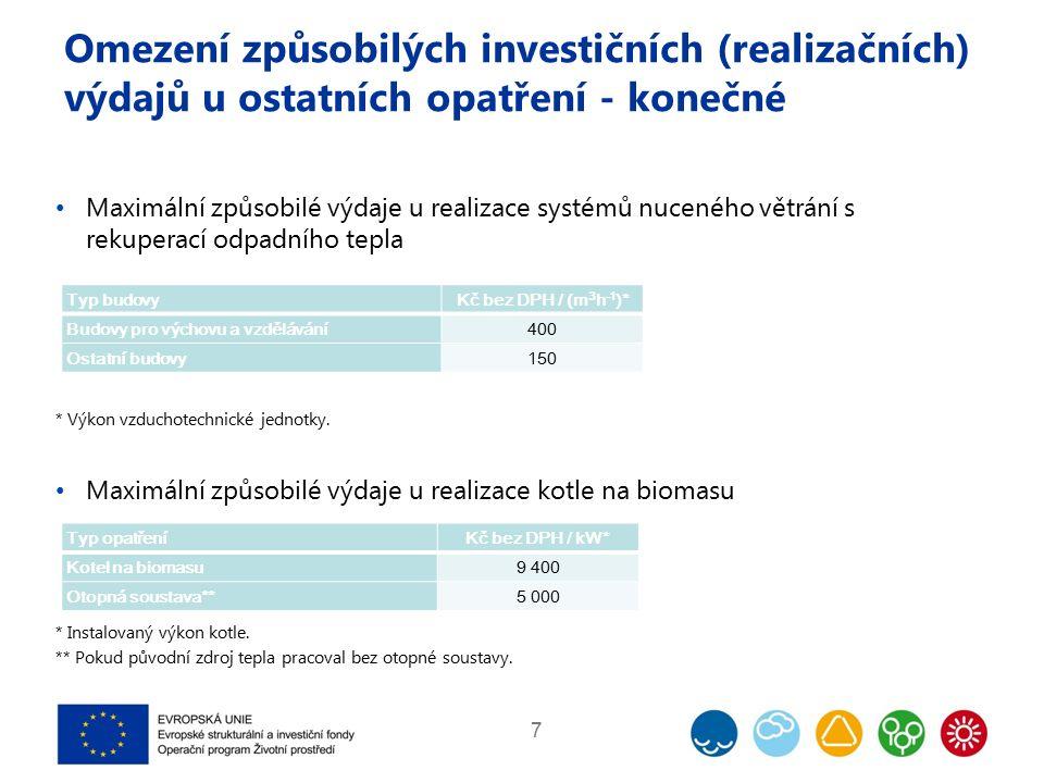 Omezení způsobilých investičních (realizačních) výdajů u ostatních opatření - konečné Maximální způsobilé výdaje u realizace systémů nuceného větrání