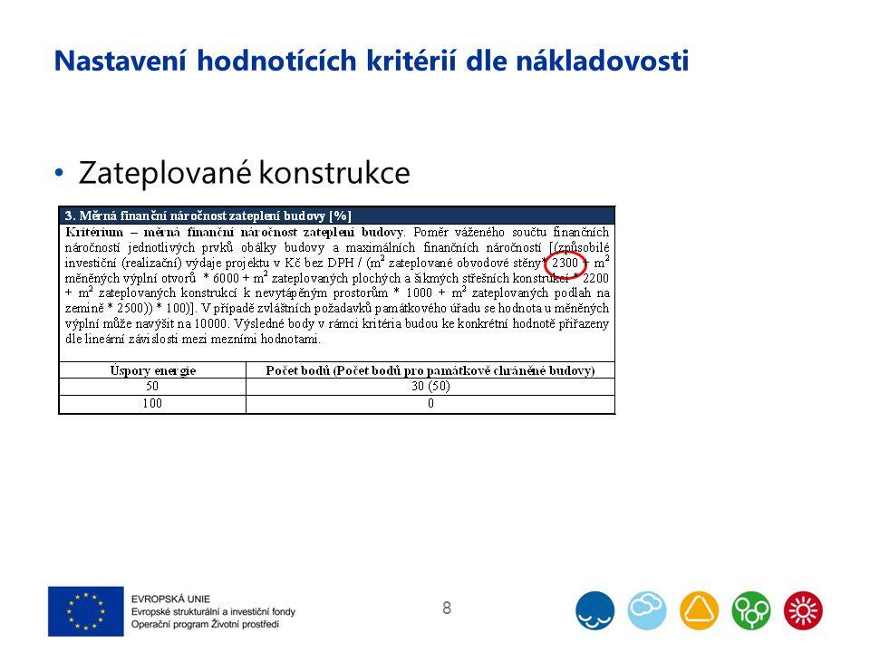 Nastavení hodnotících kritérií dle nákladovosti Zateplované konstrukce 8