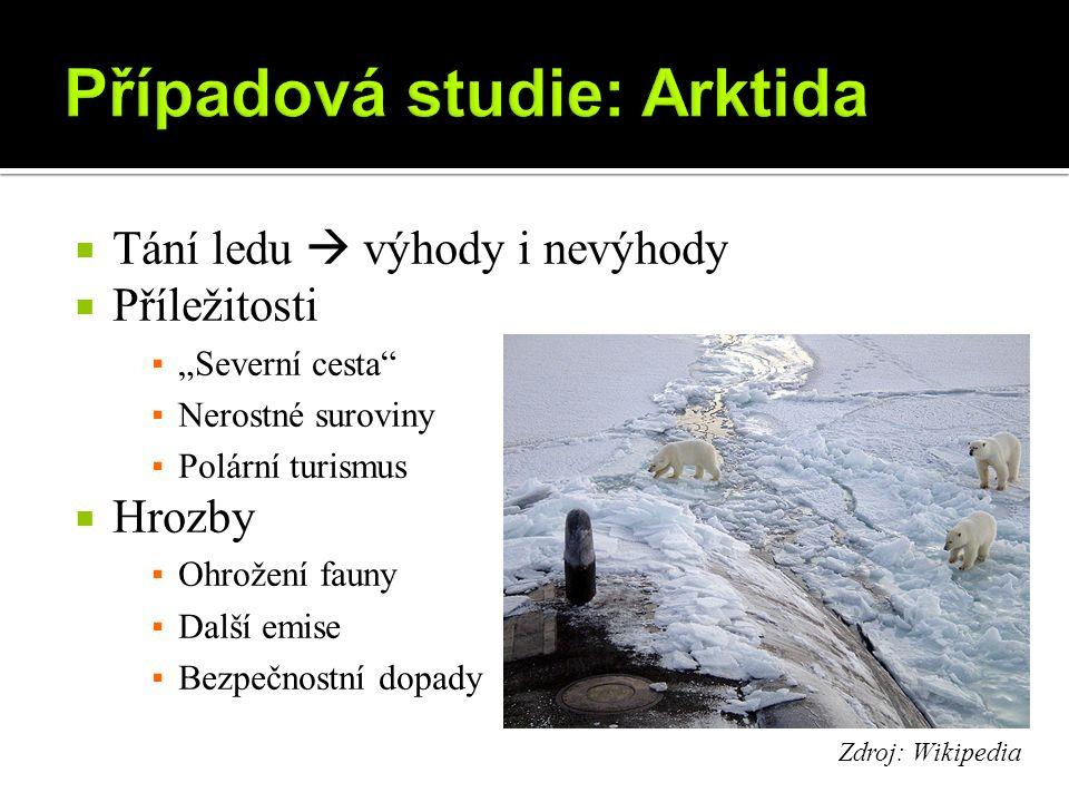 """ Tání ledu  výhody i nevýhody  Příležitosti ▪ """"Severní cesta ▪ Nerostné suroviny ▪ Polární turismus  Hrozby ▪ Ohrožení fauny ▪ Další emise ▪ Bezpečnostní dopady Zdroj: Wikipedia"""
