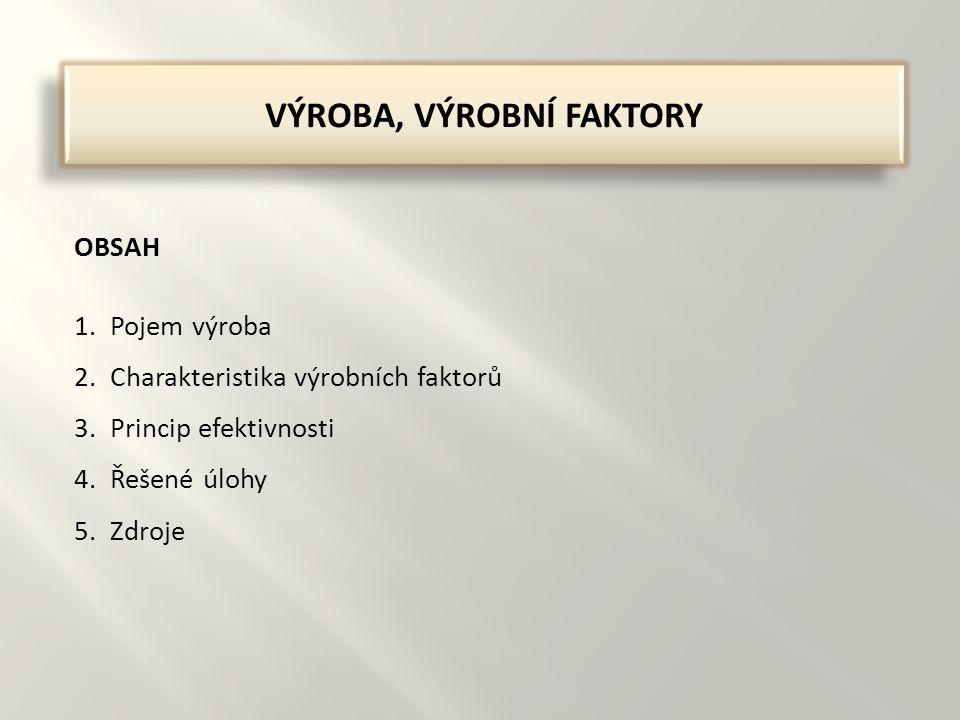 VÝROBA, VÝROBNÍ FAKTORY OBSAH 1.Pojem výroba 2.Charakteristika výrobních faktorů 3.Princip efektivnosti 4.Řešené úlohy 5.Zdroje