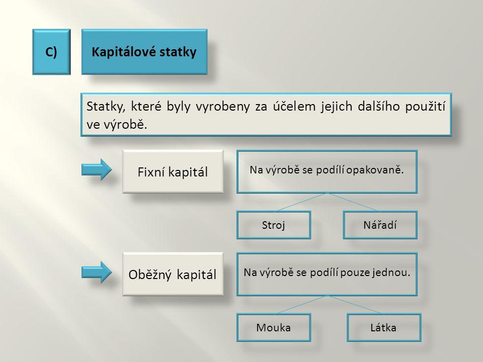 C)Kapitálové statky Statky, které byly vyrobeny za účelem jejich dalšího použití ve výrobě. Na výrobě se podílí opakovaně.Na výrobě se podílí pouze je