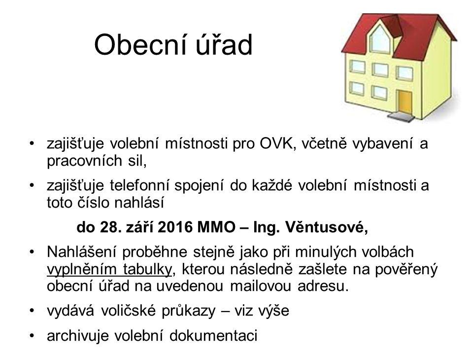 Obecní úřad zajišťuje volební místnosti pro OVK, včetně vybavení a pracovních sil, zajišťuje telefonní spojení do každé volební místnosti a toto číslo nahlásí do 28.