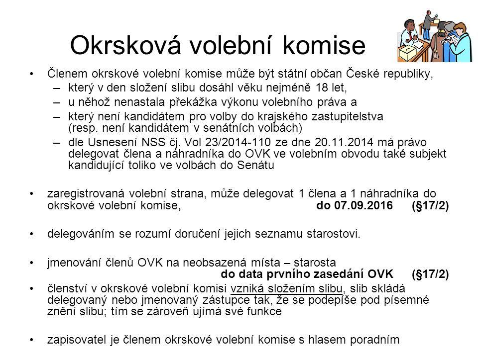 Okrsková volební komise Členem okrskové volební komise může být státní občan České republiky, –který v den složení slibu dosáhl věku nejméně 18 let, –u něhož nenastala překážka výkonu volebního práva a –který není kandidátem pro volby do krajského zastupitelstva (resp.