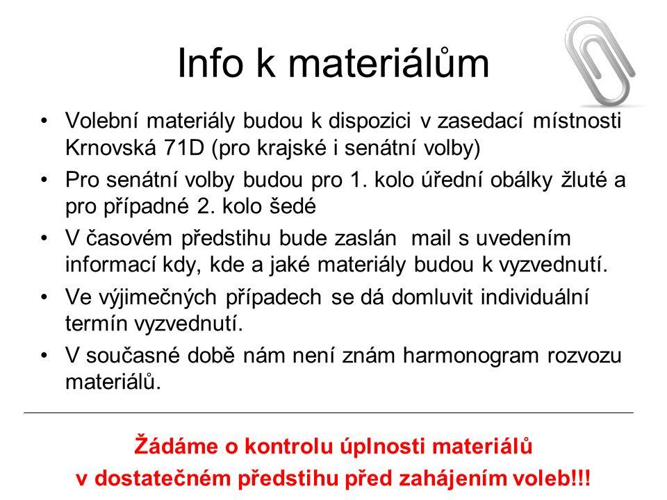 Info k materiálům Volební materiály budou k dispozici v zasedací místnosti Krnovská 71D (pro krajské i senátní volby) Pro senátní volby budou pro 1.