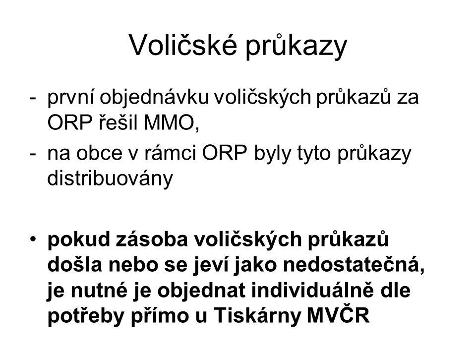 Voličské průkazy -první objednávku voličských průkazů za ORP řešil MMO, -na obce v rámci ORP byly tyto průkazy distribuovány pokud zásoba voličských průkazů došla nebo se jeví jako nedostatečná, je nutné je objednat individuálně dle potřeby přímo u Tiskárny MVČR