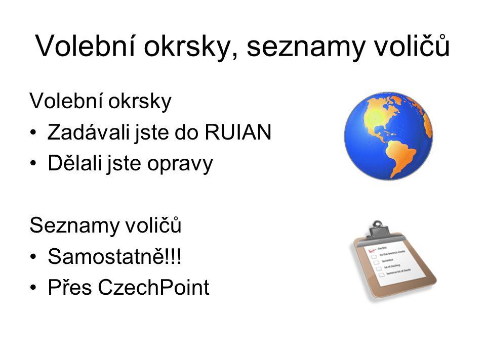 Volební okrsky, seznamy voličů Volební okrsky Zadávali jste do RUIAN Dělali jste opravy Seznamy voličů Samostatně!!! Přes CzechPoint