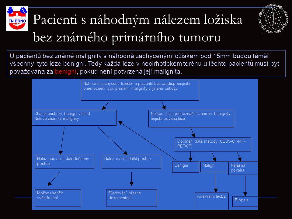 Pacienti s ložiskem v játrech se známým primárním tumorem 36 U pacientů s primární známou malignitou je pravděpodobnost až 50%, že budou maligní.