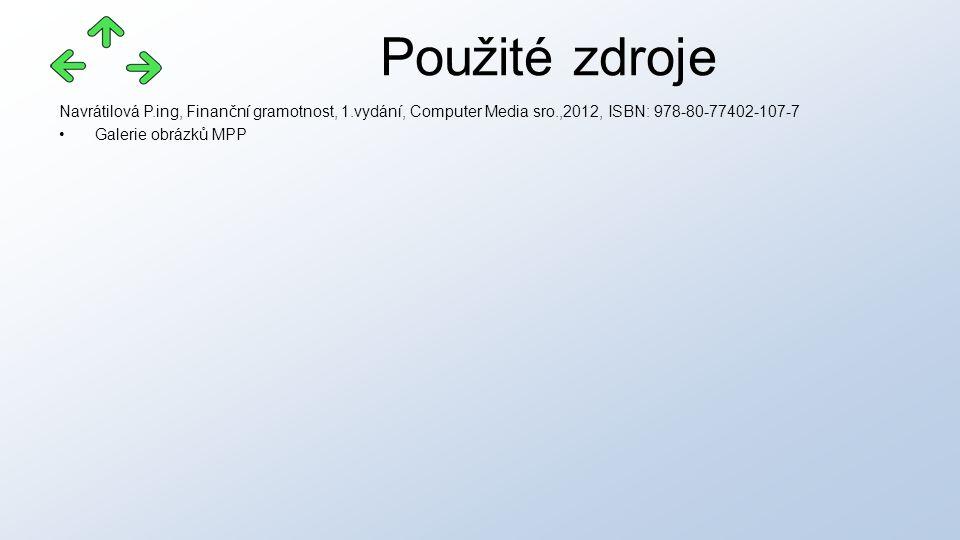 Navrátilová P.ing, Finanční gramotnost, 1.vydání, Computer Media sro.,2012, ISBN: 978-80-77402-107-7 Galerie obrázků MPP Použité zdroje