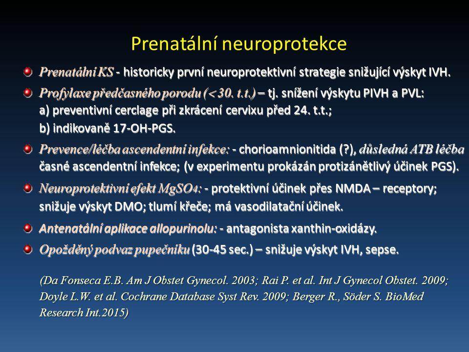 Prenatální neuroprotekce Prenatální KS - historicky první neuroprotektivní strategie snižující výskyt IVH.