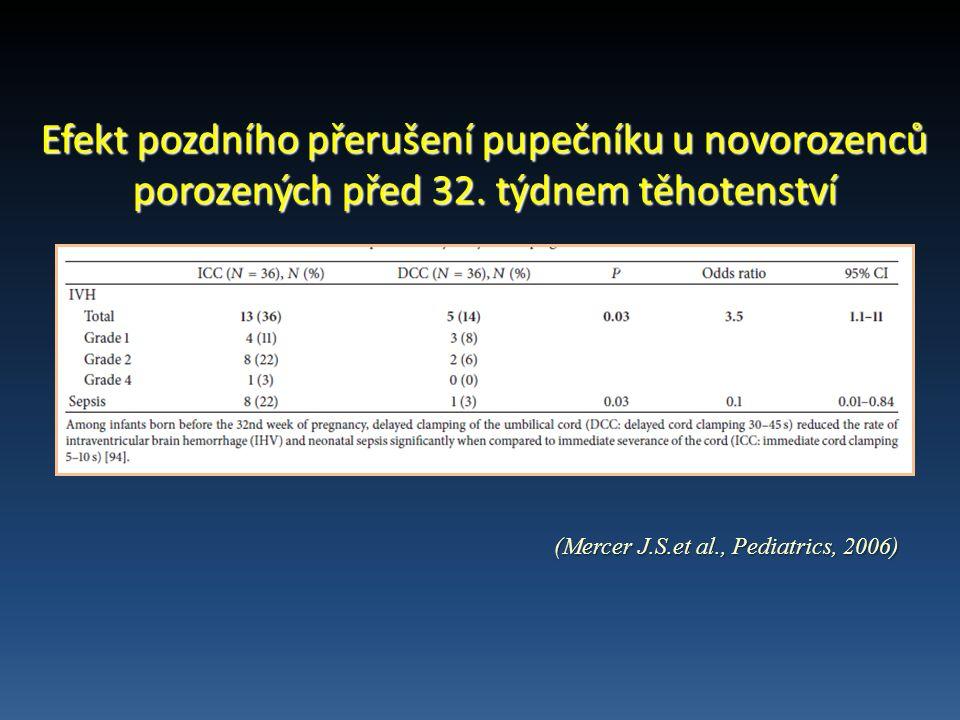 Efekt pozdního přerušení pupečníku u novorozenců porozených před 32.