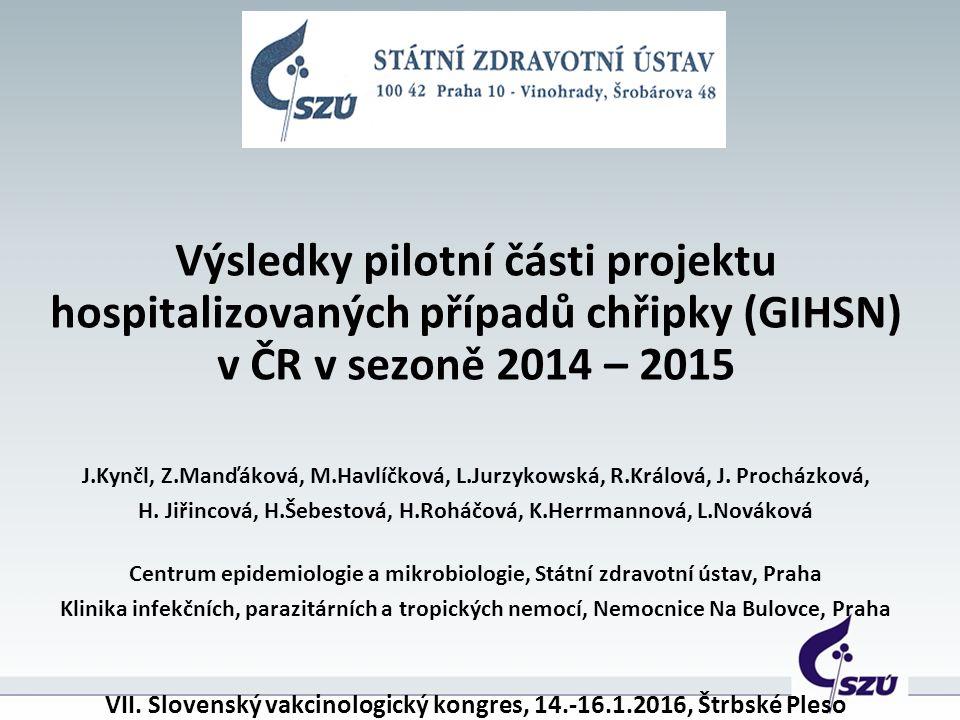 Výsledky pilotní části projektu hospitalizovaných případů chřipky (GIHSN) v ČR v sezoně 2014 – 2015 J.Kynčl, Z.Manďáková, M.Havlíčková, L.Jurzykowská, R.Králová, J.