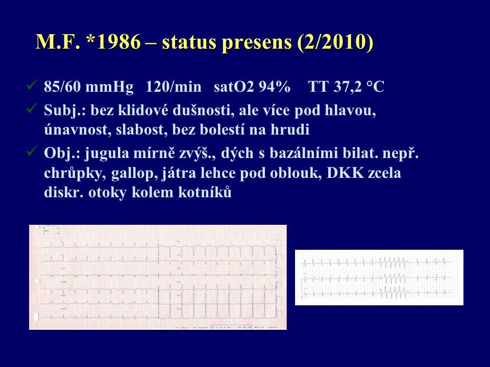 M.F. *1986 – status presens (2/2010) 85/60 mmHg 120/min satO2 94% TT 37,2 °C Subj.: bez klidové dušnosti, ale více pod hlavou, únavnost, slabost, bez