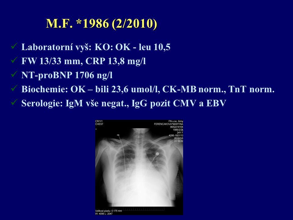 M.F. *1986 (2/2010) Laboratorní vyš: KO: OK - leu 10,5 FW 13/33 mm, CRP 13,8 mg/l NT-proBNP 1706 ng/l Biochemie: OK – bili 23,6 umol/l, CK-MB norm., T